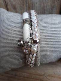 armband leer wit gevlochten 3