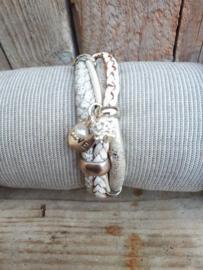 Armband leer wit gevlochten