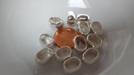 10 ovale metalen kralen met groot gat
