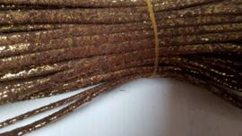 plat bruin glitterleer 5mm