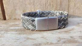 RAW stoere leren armband gevlochten grijs