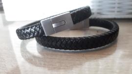 RAW leren armband zwart