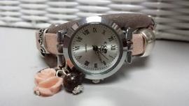 Horloge taupe roze