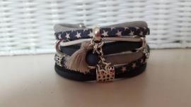 Armband leer dubbel donkerblauw grijs met sterren