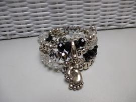 Nursing-Armband zwart / doorzichtig / zilver