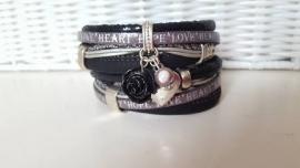Armband leer dubbel zwart grijs met tekst love*hope*heart