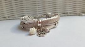 Armband wit - zilver - zand