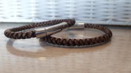 RAW leren armband bruin rondgevlochten