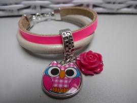 Armband neon roze leer uil