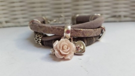 Armband leer taupe lichtroze
