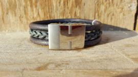 RAW stoere leren armband gevlochten donkerblauw / grijs