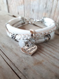 Armband leer wit zilver moederdag