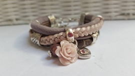 Armband leer taupe roze