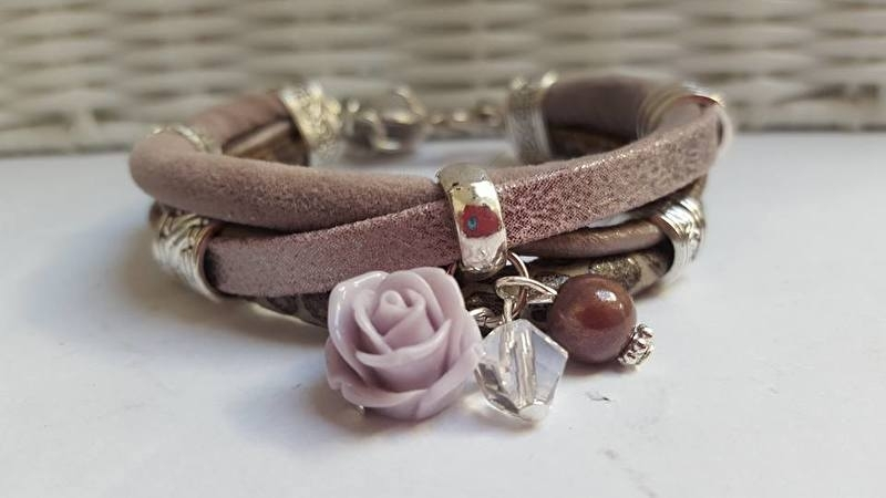 Armband leer taupe roze - lila