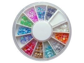 Iridescent nailart in wheel box, stars
