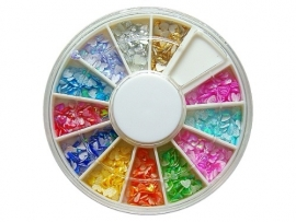 Iridescent nailart in wheel box, hearts