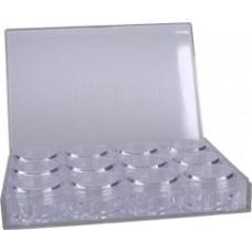Box met 12 lege doosjes (plexiglas)