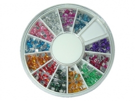 Rhinestones in wheel box, square