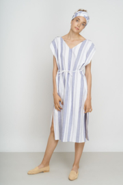 Jungle Folk - Amira Kaftan - striped blue white - handwoven cotton