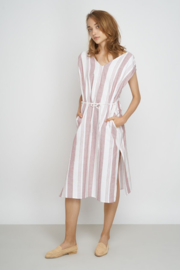 Jungle Folk - Amira Kaftan - striped red white - handwoven cotton