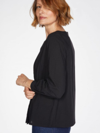 THOUGHT - Charlotte organic cotton pleated front top - black