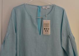 Nadine H - Jurk linnen met zilver schakel licht blauw