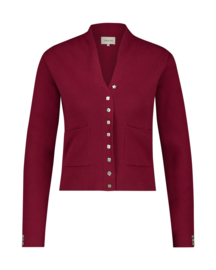 Mara May - vest parelmoer knopen  -  spicy red