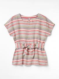 white Stuff - Top linen - pink stripe