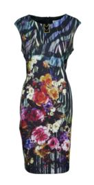 Joseph Ribkoff jurk bloemen print met gouden schakel