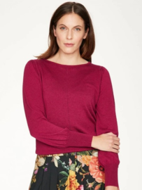 THOUGHT - Evadne Pointelle Knit Long Sleeve Jumper - FUCHIA PINK