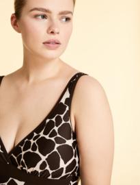 Marina Rinalidi - Printed one piece swimsuite - dark beige