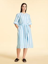 MARINA RINALDI - LINEN DRESS - WHITE/LIGHT BLUE STRIPE