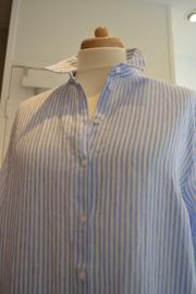 Mara May - Linen blouse long - Blue stripe