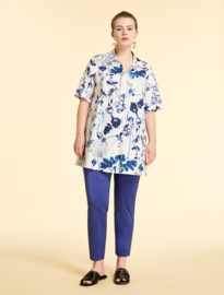 MARINA RINALDI - COTTON POPLIN SHIRT-  WHITE BLUE FLOWERS