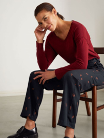 THOUGHT - Loren v-neck wool/cotton blend sweater - Ruby red
