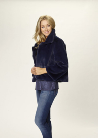 Due Amanti - Bont kort jasje - donker blauw