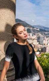 Leo & Ugo - Pullover zwart met witte kartel rand