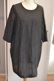 Qneel - comfort linnen jurk - donker grijs