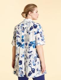 MARINA RINALDI - COTTON POPLIN SHIRT-  WHITE BLUE FLOWERS