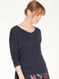THOUGHT -  Loren v - neck wool/cotton  blend Sweater - Midnight navy