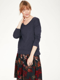 THOUGHT -  Loren v - neck wool/cotton  blend Sweater - Midnight navy