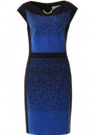 Joseph Ribkoff Jurk blauw zwart met gouden schakel