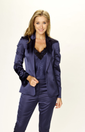 DUE AMANTI -  BLAZER SATIJN STRETCH - DONKERBLAUW