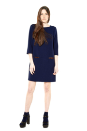 Gazel - Dress Blue with bronz pockets