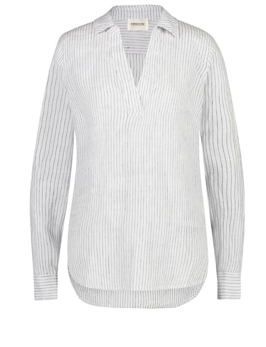 Mara May - linen blouse - white/navy stripe