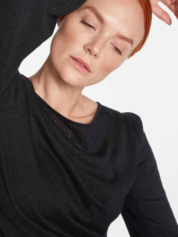 THOUGHT - Evadne Pointelle Knit Long Sleeve Jumper - BLACK
