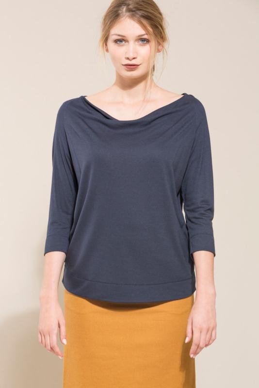 Lanius - Waterfall shirt - wool/silk - dark blue