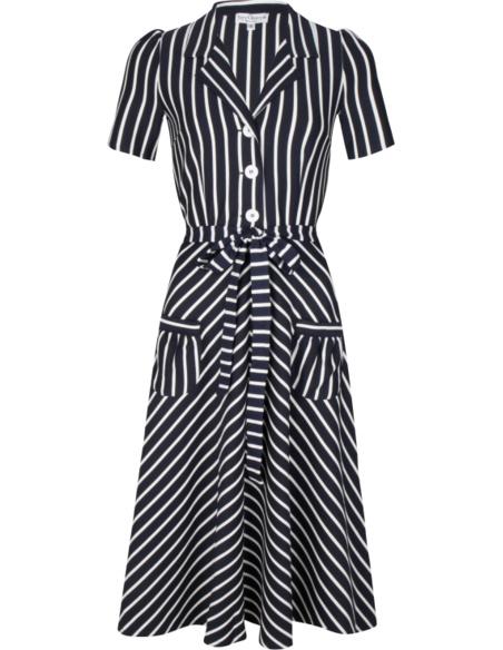 Very Cherry - dress navy white stripes
