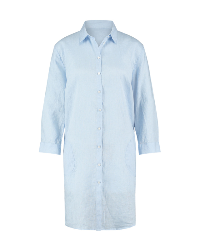 Mara May - Linen blouse long - Light Blue