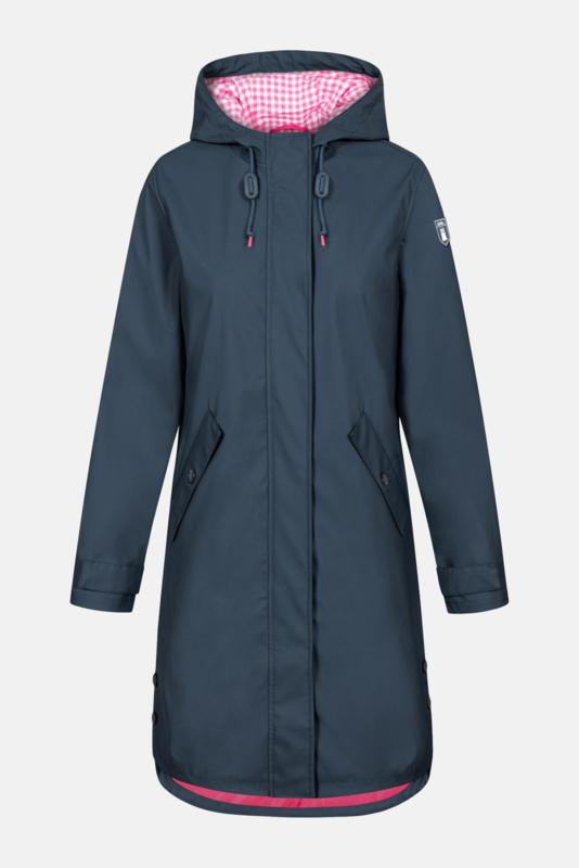 Derbe - Friese Navy Vichy Women's Raincoat -  Dark Blue Checkered